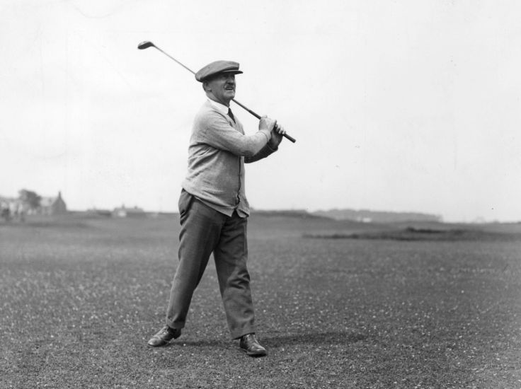 July 1927: British golfer John Henry Taylor (1871 - 1963) playing a shot during the British Open at St Andrews. Taylor was one of the 'Great Triumvirate', with James Braid and Harry Vardon, and he won the British Open five times (1894, 1895, 1900, 1909 and 1913). (Photo by Kirby/Topical Press Agency/Getty Images)